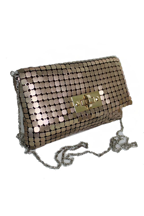 Copper Metallic Meshed Clutch Bag