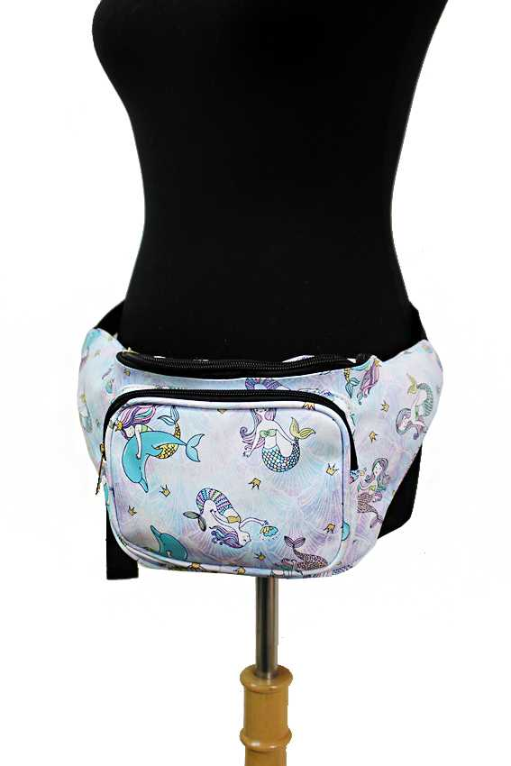 3 Pocket Animated Fairy Tale Under The Sea Mermaid Retro Fanny Pack