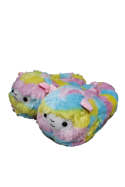 Youth Size Fluffy Furry Colorful Llama Slippers