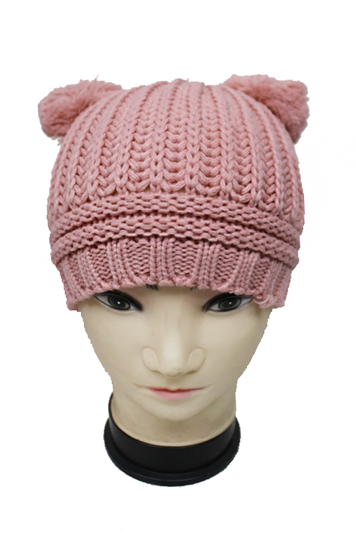 Basic chic Double Pom Pom Ribbed Knit Pattern Beanies