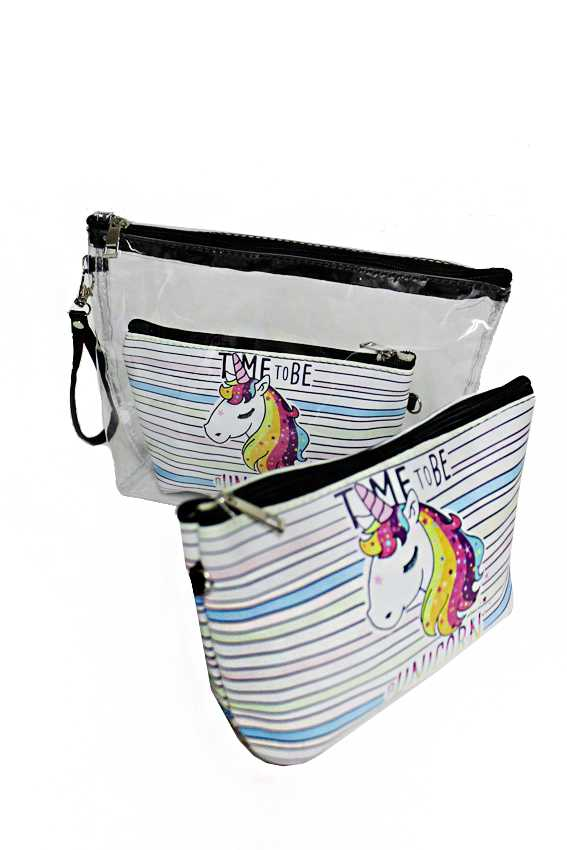 Unicorn 3 Piece Cosmetic Multi Use Pouch Set