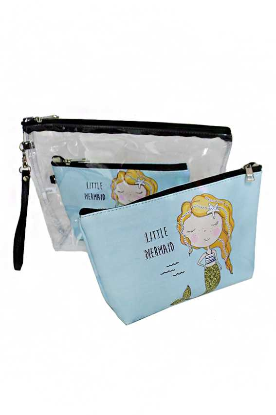 Mermaid Under The Sea 3 Piece Cosmetic Multi Use Pouch Set