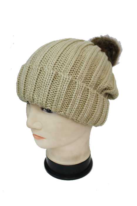 Detachable Faux Fur Accented Pom Pom Striped Pattern Knit Beanie