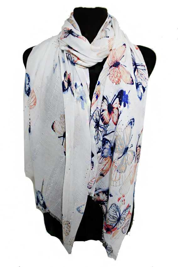 Scenic Spring Butterfly Printed Shimmery Sequin Detailed Oblong Shawls Scarf