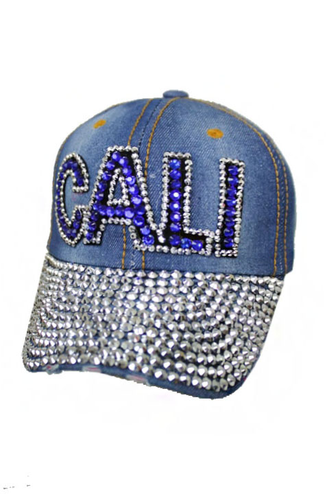 CALI Colored Filled Denim Washed Bling Bling Cap