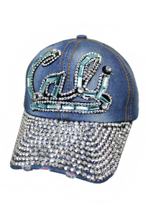 Cali Cursive Lettering With Sky Blue Bling Bling Distressed Baseball Cap