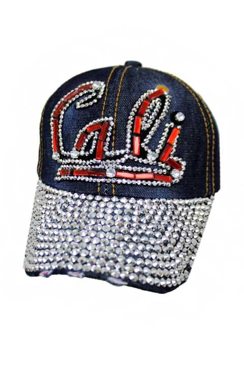Bright And Bold Red Cali Bling Denim Washed Stone Cap
