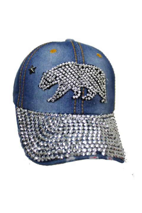 Cali Republic  Patch with  Bling Studs  Denim Washed Stone Cap