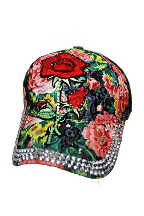 Laced Colorful Water Color Effect Floral  Rose Embroidery Patch with Rhinestone Bling Denim Washed S