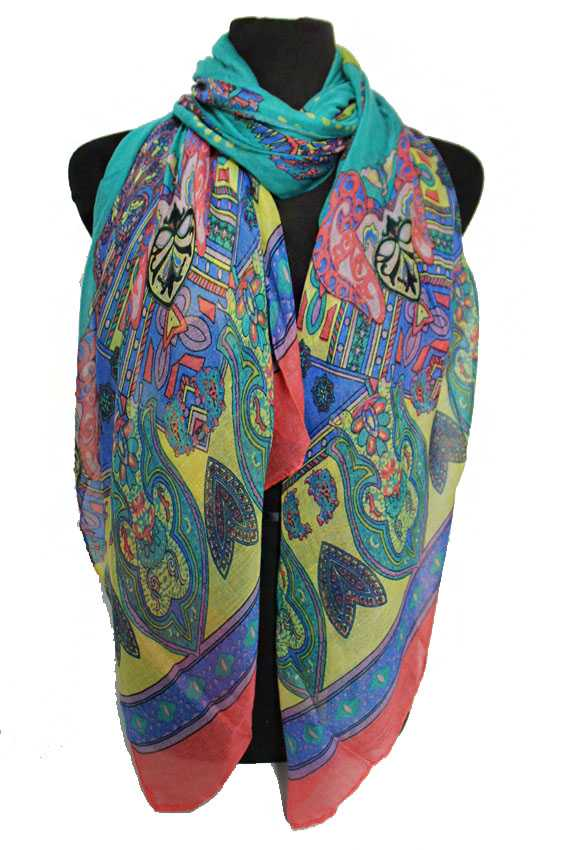 Cultural Paisley Multi Colored Oblong Softness Scarves