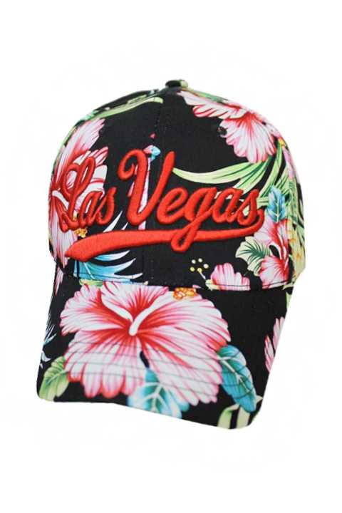 Las Vegas All Around Floral Hawaiian Tropical Flowers Baseball Cap