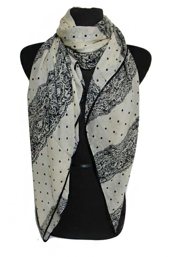 Fancy Luxury Polka Dot Squared Sheer Chiffon Styled Scarves