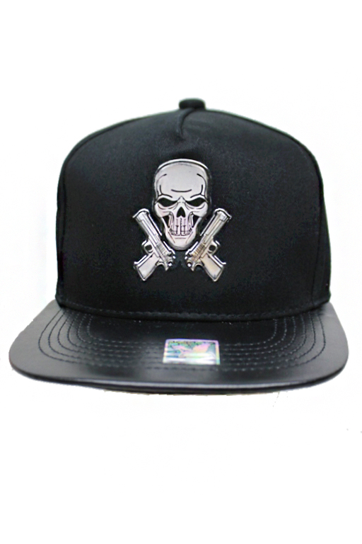 Rebel Biker Silver Skull Plaque Street Wear Snap Back