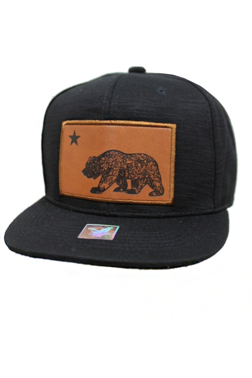 Natural Leather California Patch Snap Back