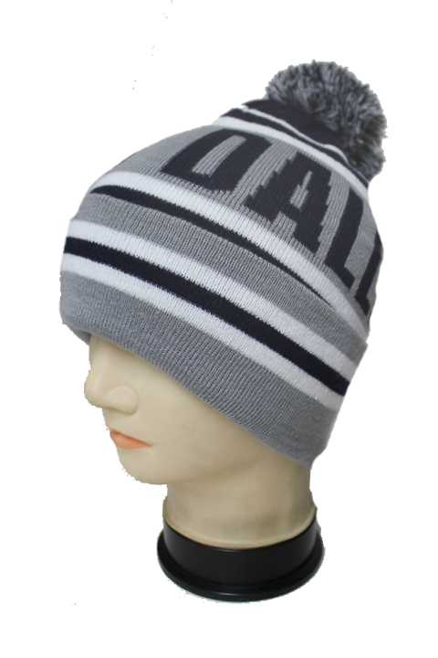Dallas City Knitted Striped Design with Pom Pom Thick Long Beanies