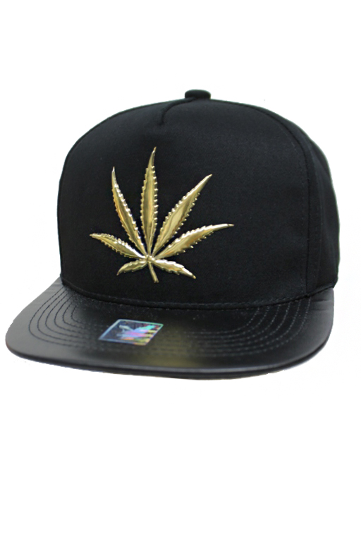 Gold Embossed Marijuana Leaf street Fashion snap Back