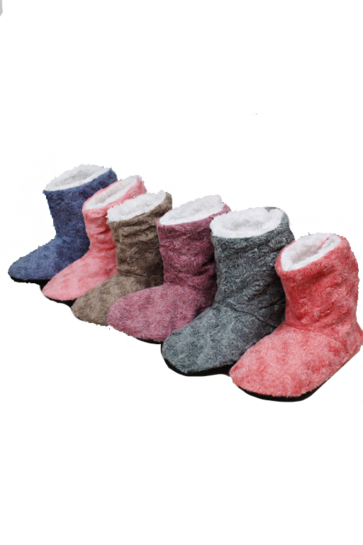Ankle Booties Plush Swirl Texture Indoor Home Slippers