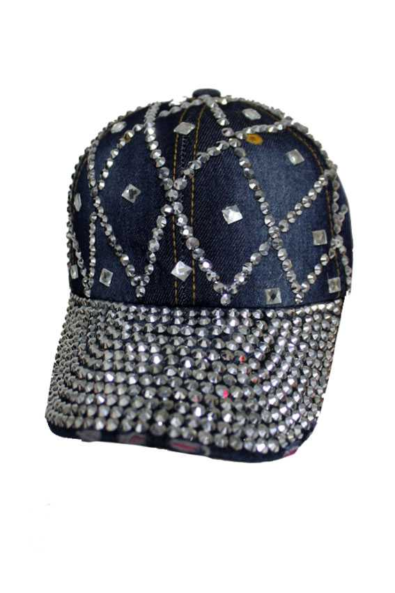 Diamond Pattern with dot design Bling Bling Studs Denim Washing Cap