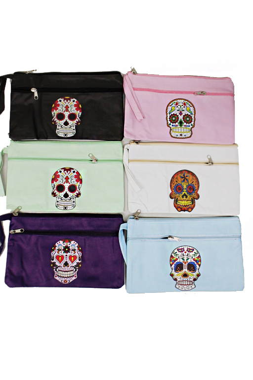 Day Of The Dead Sugar Skull Flat Pouch Double Zipper Wrislets