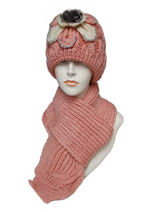 Women Flower With Pom Fur Detail Beanie Thick Fur Lined Scarf Softness Set