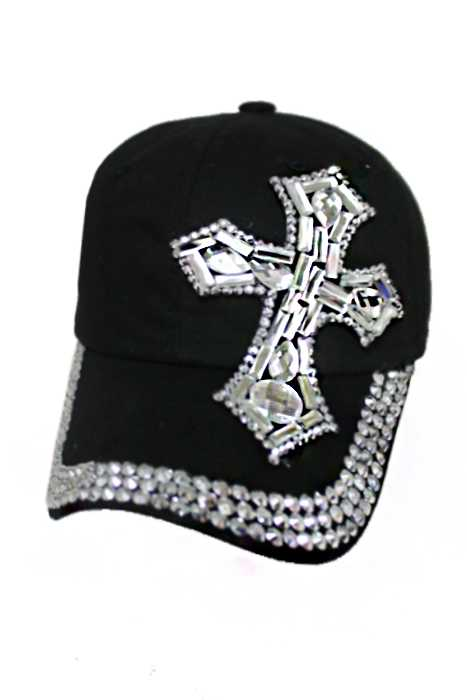 Cross Design Bling Bling Crystal design Cotton and Denim Washing Cap