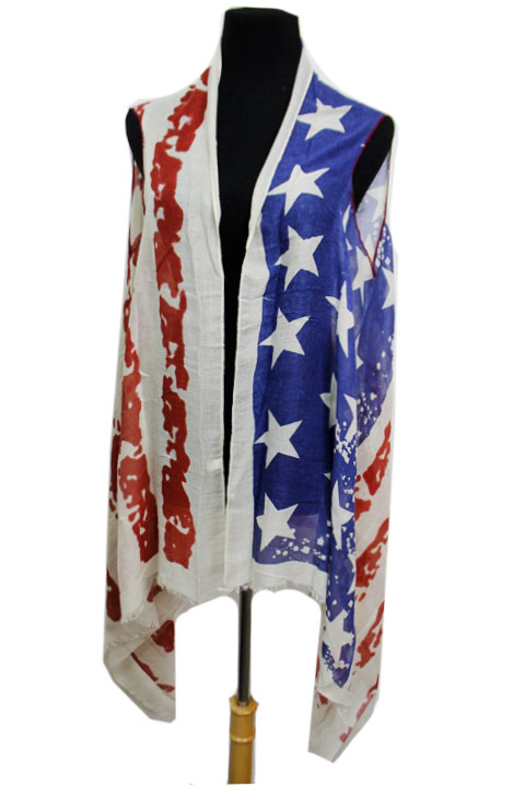 American Flag Semi Sheer Sleeveless Cardigan Original Color Vintage Style