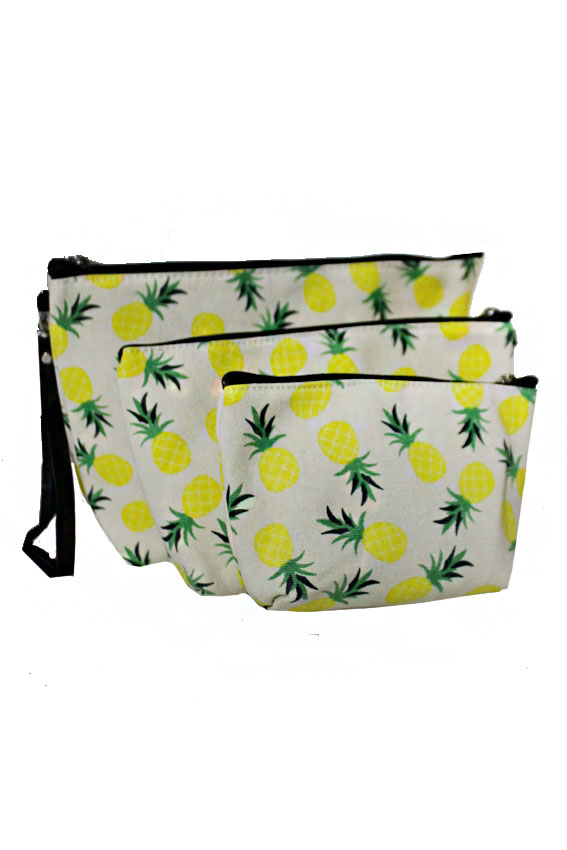 Pineapple Print Design 3 Piece Cosmetic Multi Use Pouch Set