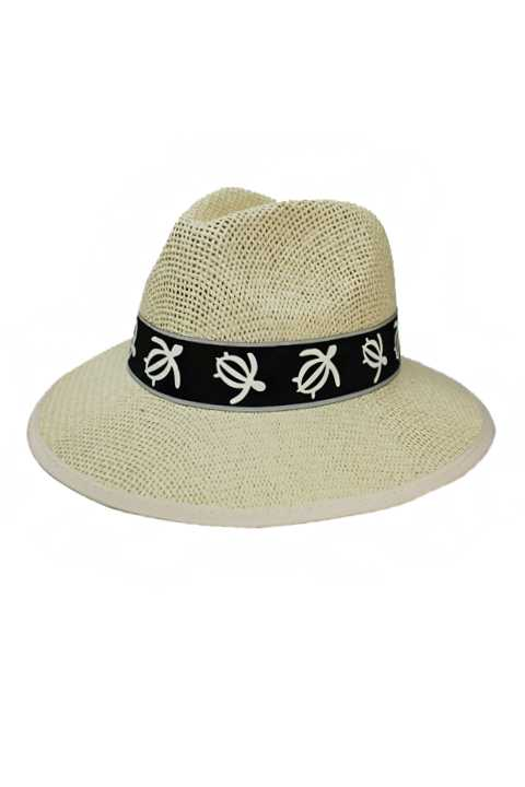 Firm And Sturdy Panama Hat With Aquatic Sea Turtle Cotton Band