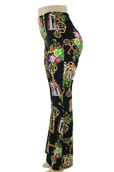 Stretchy Bell Bottoms Floral and Key Design Pants
