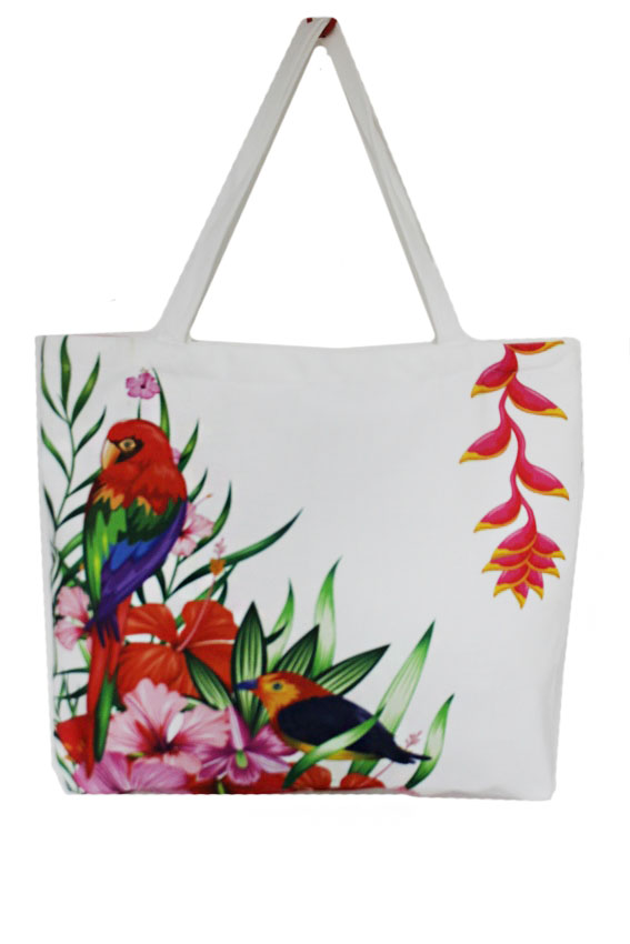 Long Beak Tropical bird On Vibrant Floral Printed Tote Bag