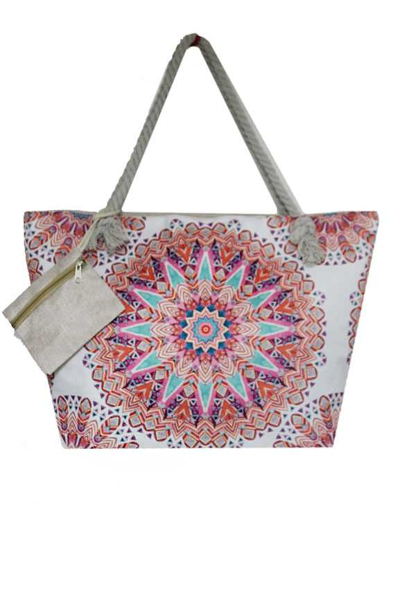 Large Thick canvas Mandala Floral with Coin Bag Totes