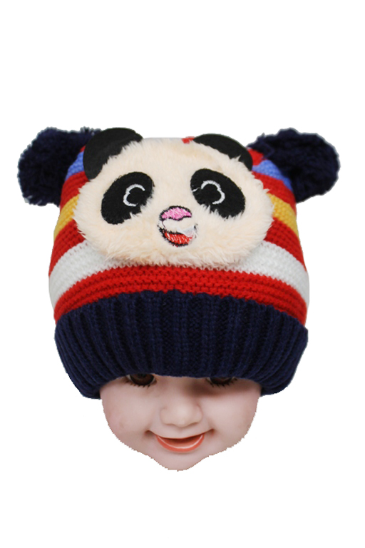 Fuzzy Panda Colorful Stripe Knit Children Kids Beanies