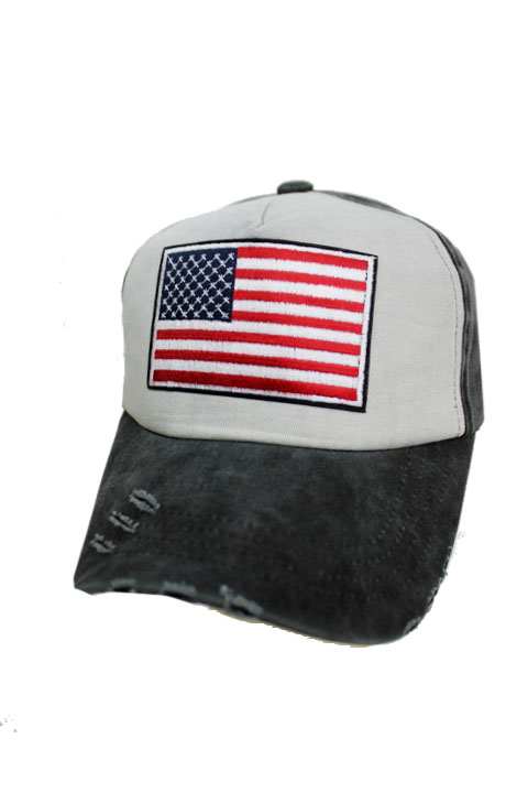 Pigmented Distressed Wash Five Panel American Flag Patch Work Strap Back Cap