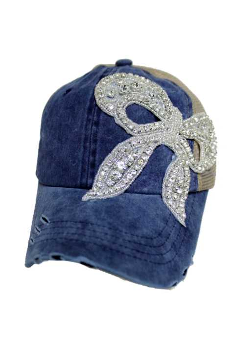 Pretty In Crystal Bow Tone Pigment Dyed Distressed Strap Back Trucker Cap