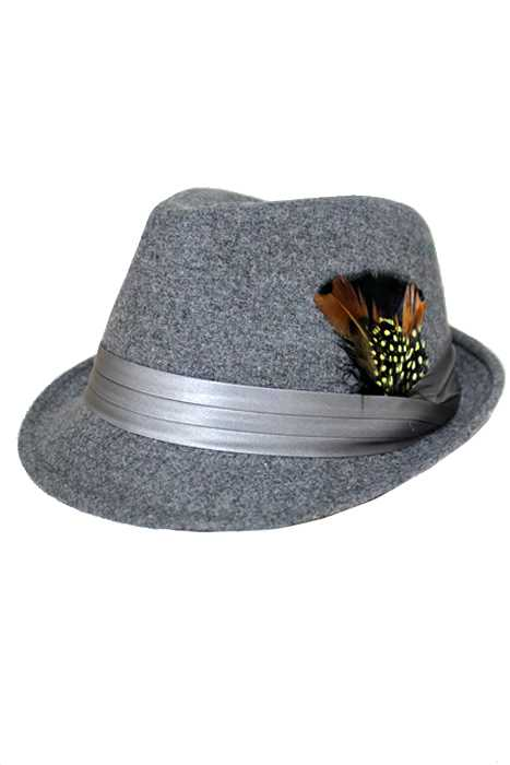 Wool Blended Feather Satin Band Classic Fedora