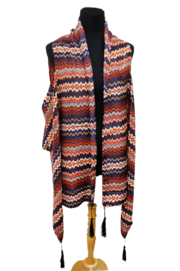 Boho and Chic Zig Zag Printed Silk Felt Long Kimono Styled Vest