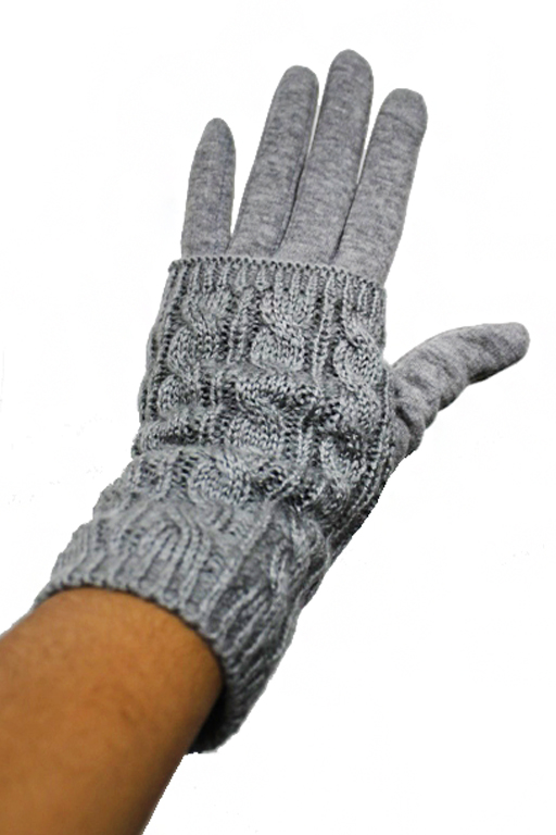 Double Layered Wide Braid Knit Text Phone Touch Grip Fur Lined Gloves