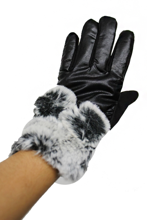Faux Leather Touch Grip Round Extra Soft fur Detailed Gloves