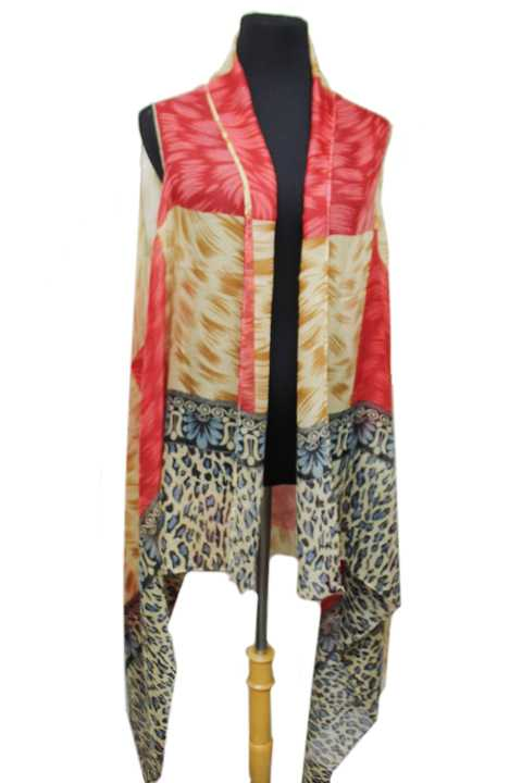 Tiled Paint Brushed Animal Print Color Block Softness Kimono Top Cover Up