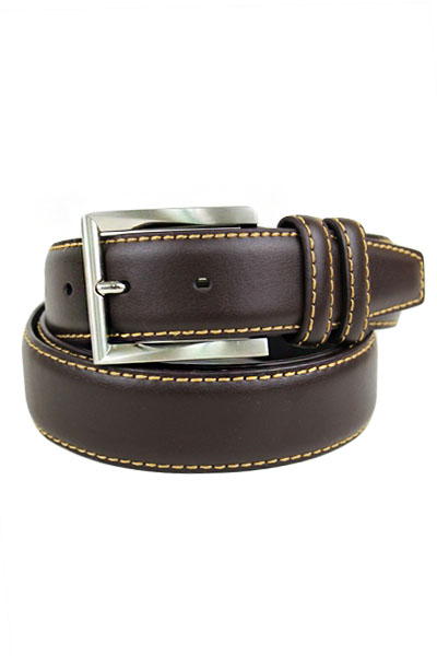 Men's Belt Italian Leather With Silver Buckle