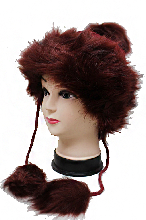 Luxury Fur Cuffed Tie String Fur Pom Pom Wide Braid Knit Beanies