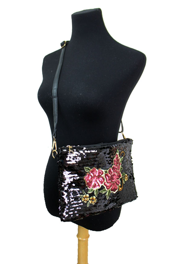 Luxury All Sided Sequin Floral Roses Decor Cross Body Wristlet Bag
