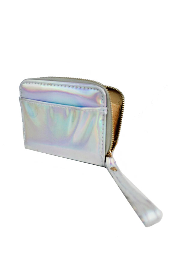 Irridescent Silver Petite Fashion zip Up Wallet