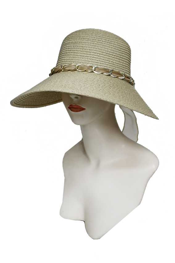 Chiffon Twist Chain Diamond Decor Wide Brim Visor Summer Sun Hat