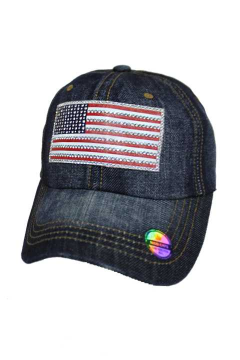 Distressed All American Swarovski Crystals Flag Rough Jean Washed Strap Back Baseball Cap