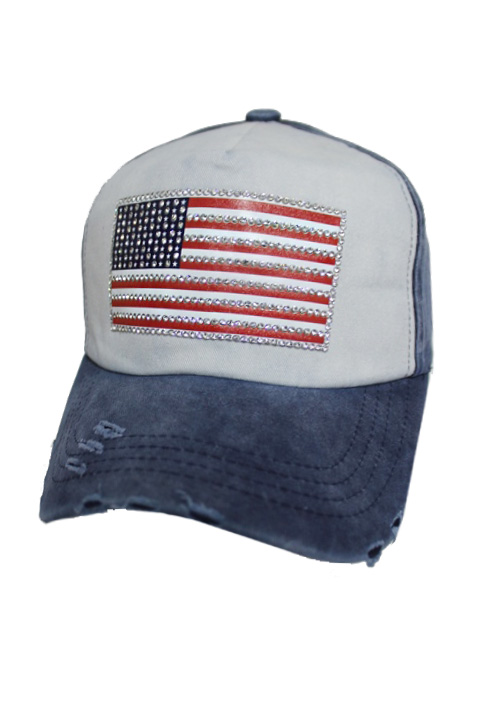 Distressed All American Swarovski Crystals Flag Pigment Strap Back Baseball Cap
