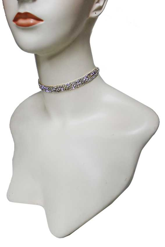 Luxury Cubed Faux Diamond Strap Choker Necklace