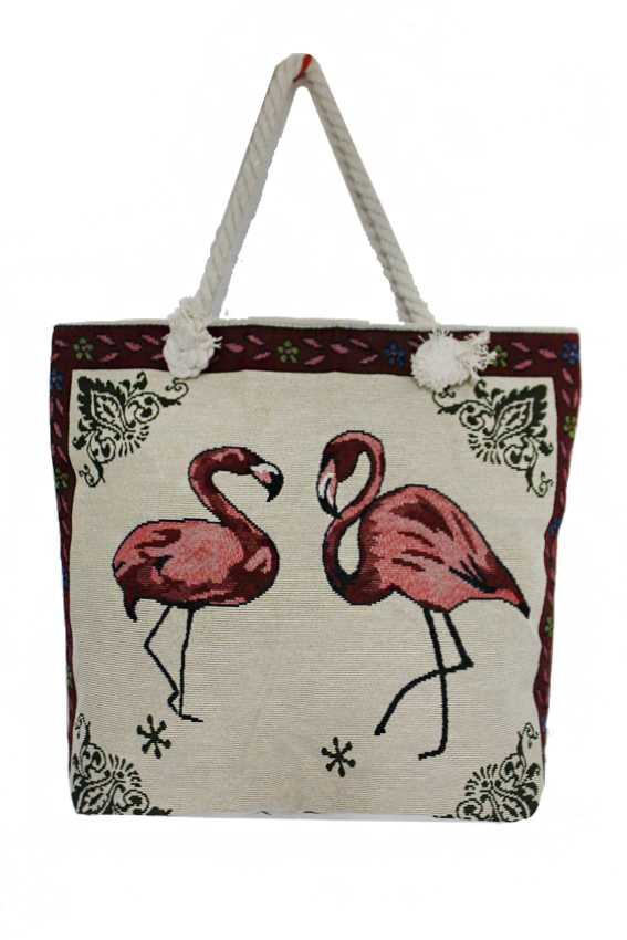 All Natural Canvas Flamingo Embroidered Tote Bag