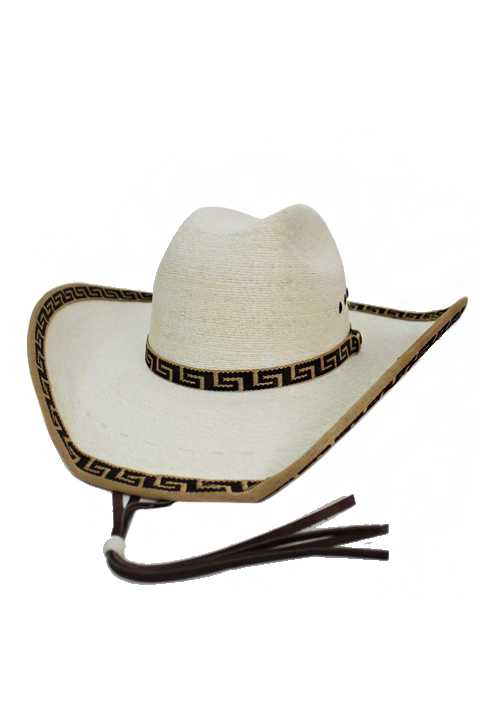 Suede Leather Chevron Stitched Embroidered Detail Cowboy Hat