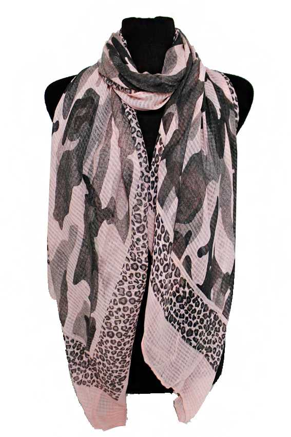 Camouflage With Leopard Trimmed Printed Oversize Shawls  Scarf